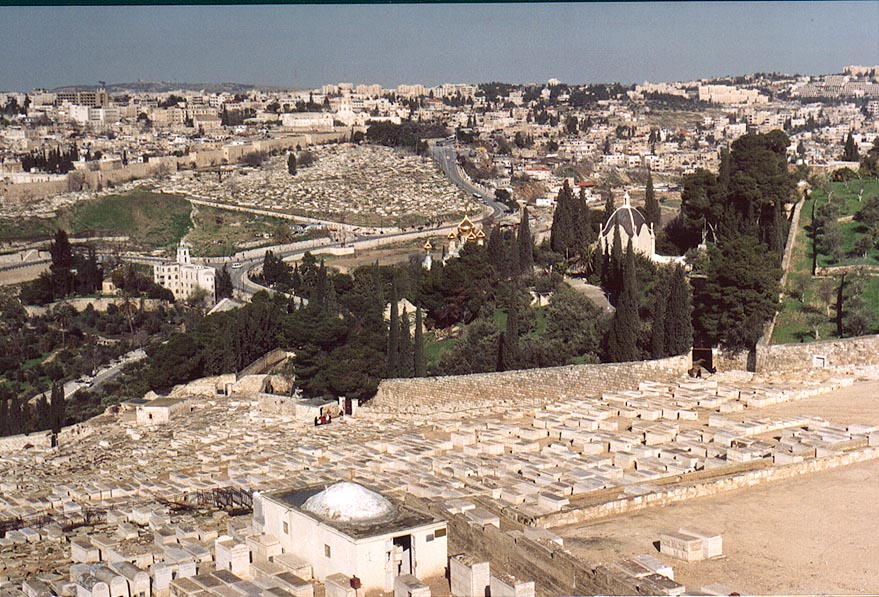 View of Jewish cemetery and Dominus Flevit Church...of Olives. Jerusalem, the Middle East