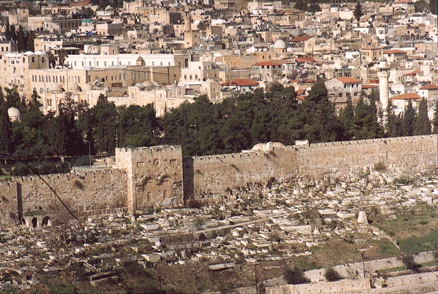 View of Moslem cemetery below eastern wall of Old...of Olives. Jerusalem, the Middle East