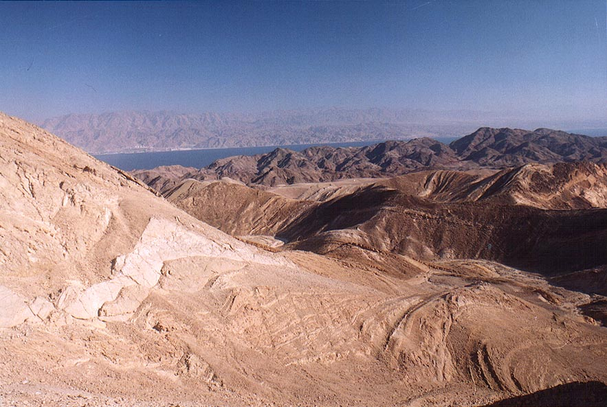 "Cliffs along ""knife trail"" (no. 20565) and Red...miles west from Eilat. The Middle East"