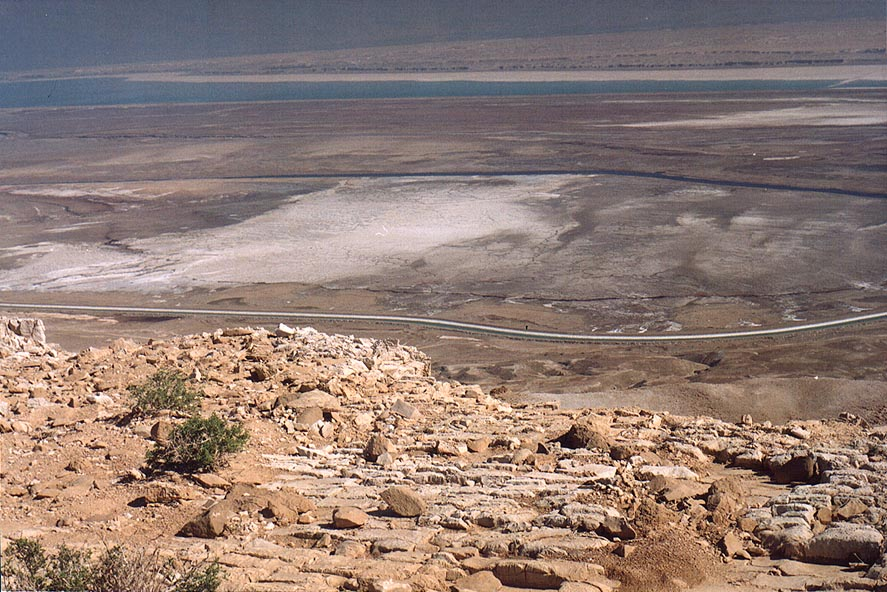 Maale Mor ascent 3 miles south from Masada, with Dead Sea at background. The Middle East