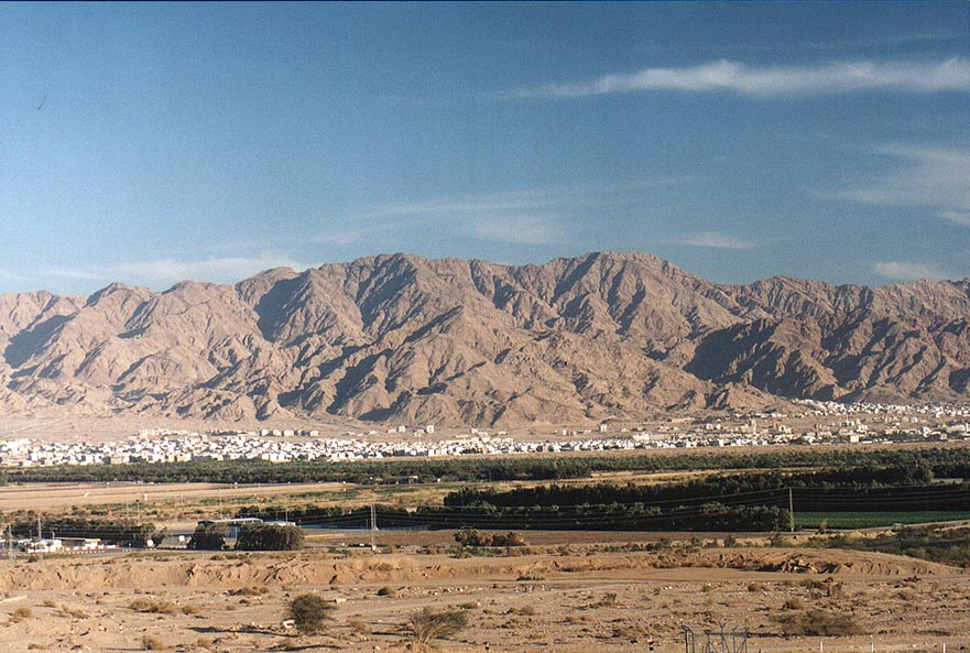 View of Akaba at evening from Eilot bus stop 1 mile north from Eilat. The Middle East