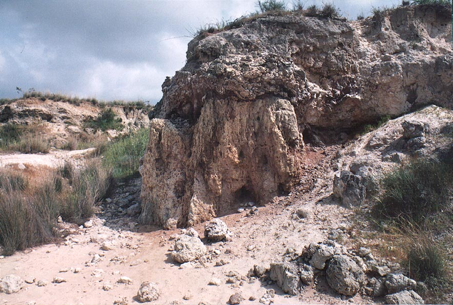 Deposits of sulphur in quarries south-west from...north from Gaza city. The Middle East
