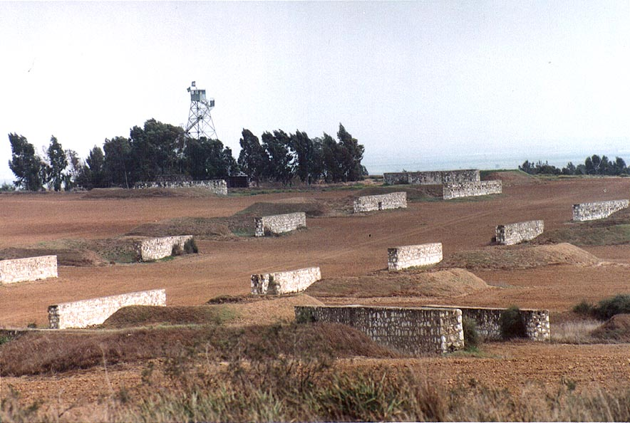 Military fortifications west from kibbutz Beeri...north from Gaza city. The Middle East