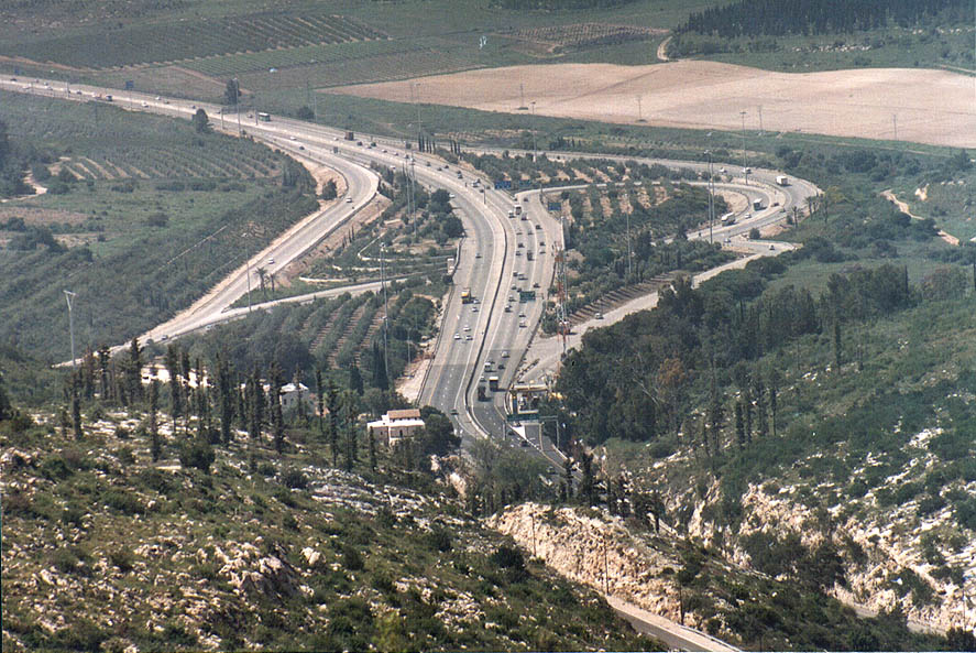 Memorial hill no. 21 overlooking Rd. 1 (where it...west from Jerusalem. The Middle East