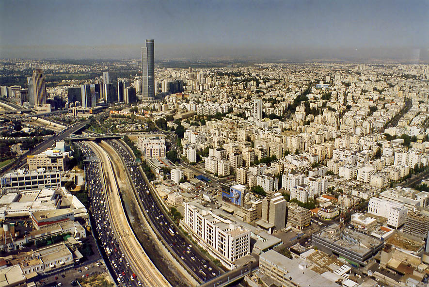 Ayalon Highway and Ramat Gan north from Azrieli Tower. Tel Aviv, the Middle East