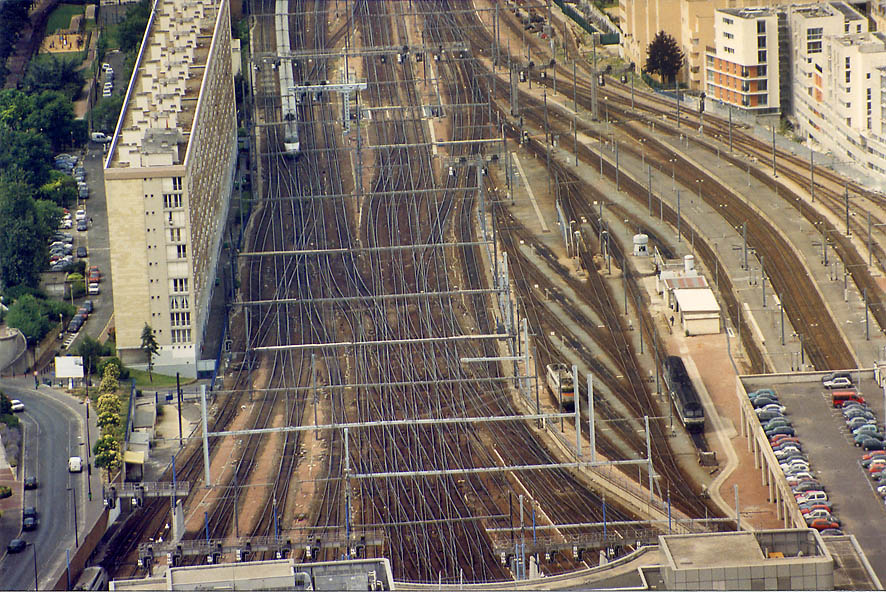 Montparnasse train station from Tower Montparnasse. Paris