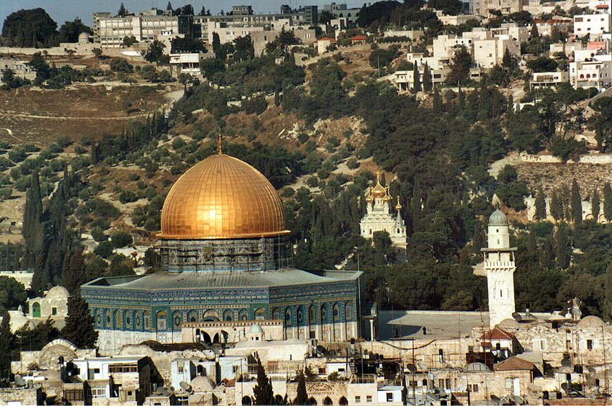 Dome of the Rock and Mount of Olives east from Citadel. Jerusalem, the Middle East