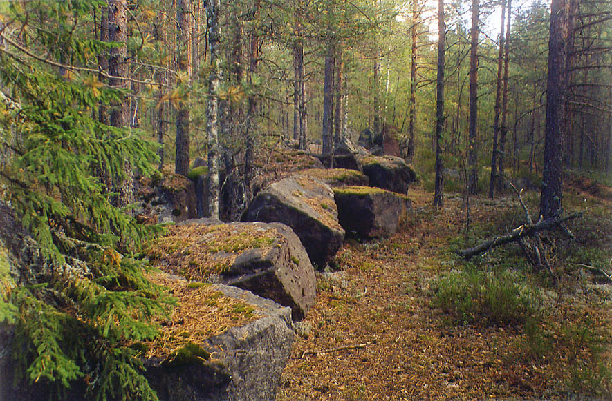 Finnish World War II stone defence fortifications...miles north from St.Petersburg. Russia