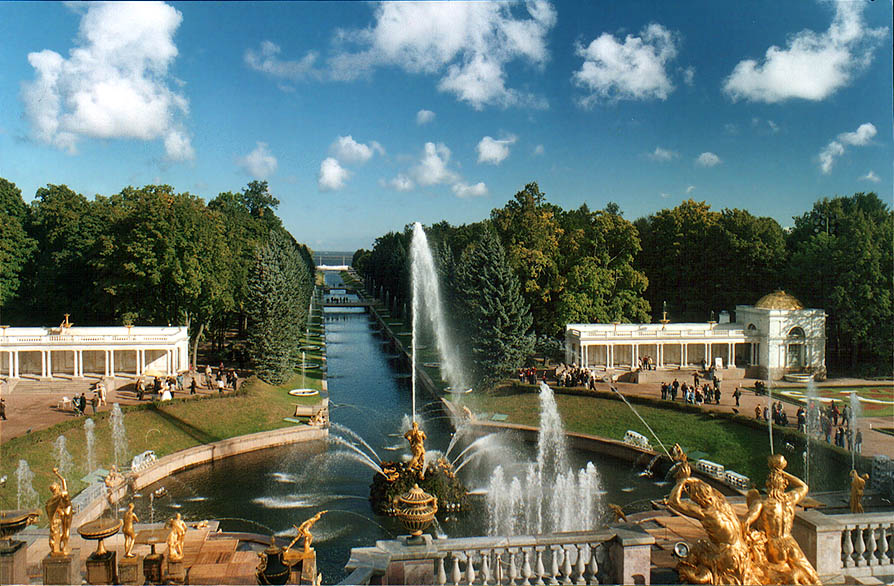 Grand Cascade of fountains in Peterhof, a former...now a suburb of St.Petersburg. Russia