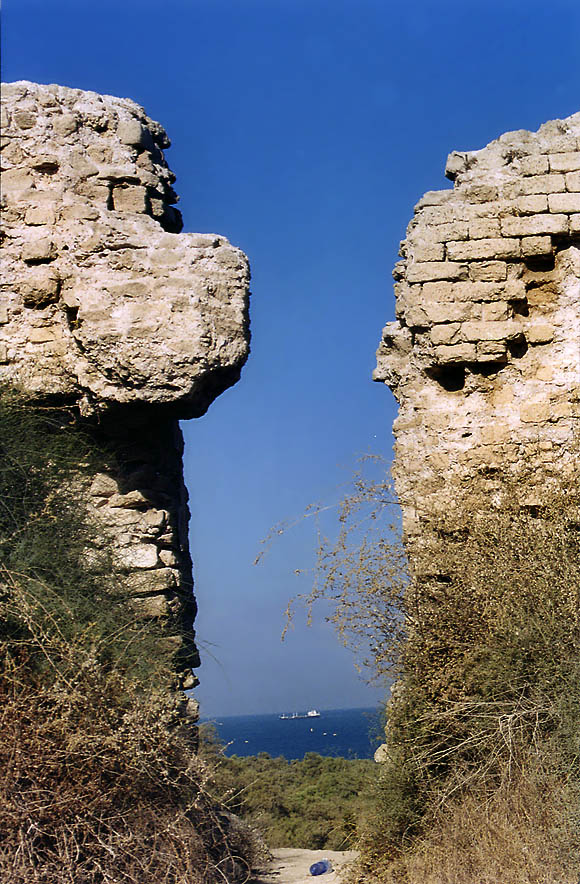 Ruins of Crusader's Fortress on a seashore of Ashkelon. The Middle East