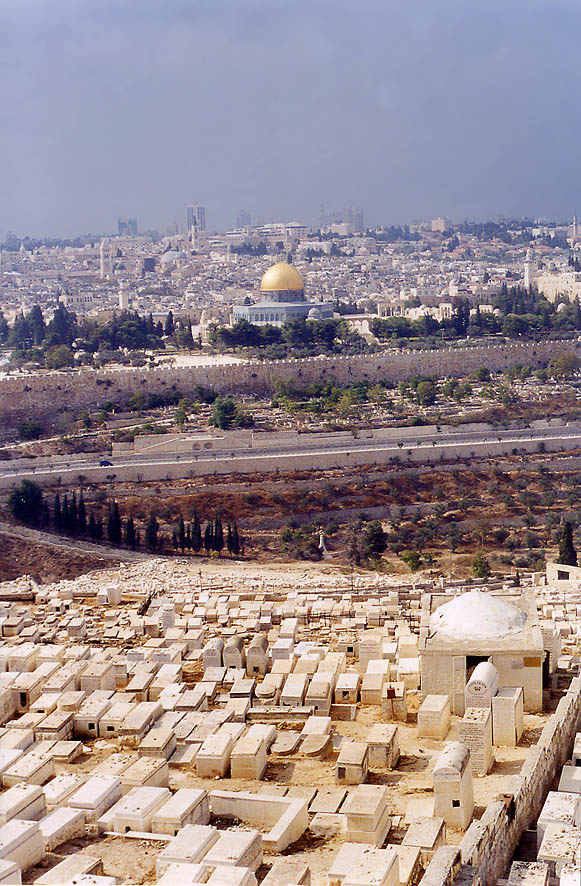 Jewish cemetery, Kidron Vallye, and Old City from...of Olives. Jerusalem, the Middle East
