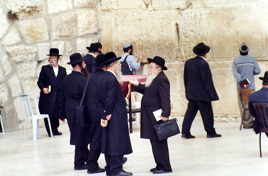 Conversation in front of the Western Wall. Jerusalem, the Middle East