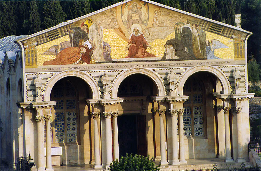 Facade of Gethsemane Church of All Nations...Ofel Rd.. Jerusalem, the Middle East