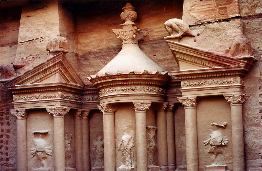 View of top of the Treasure tomb from an opposite cliff. Petra, Jordan