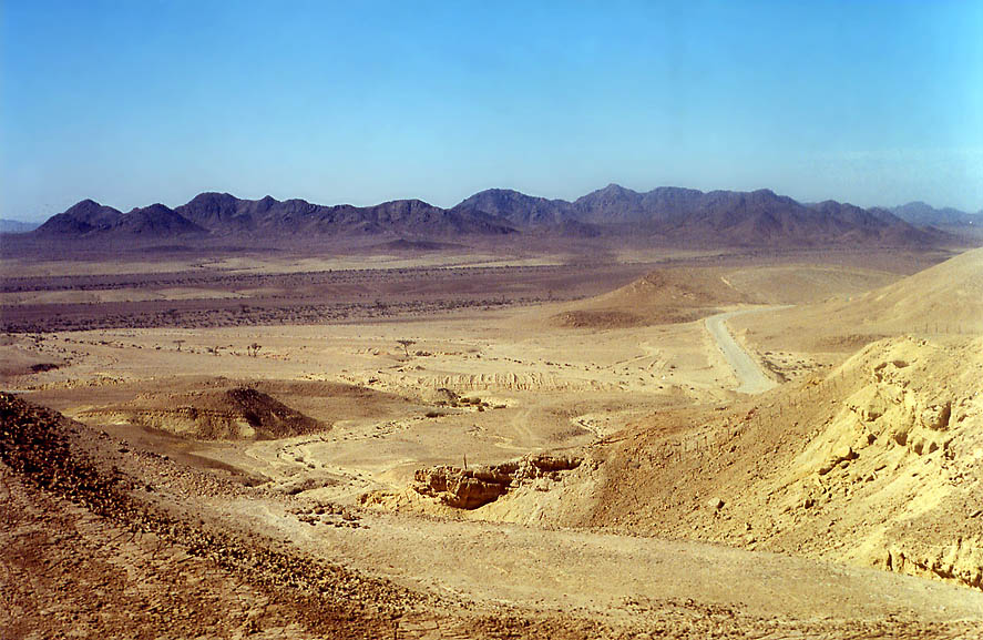 Moon Valley in Egypt from a road to Eilat. The Middle East