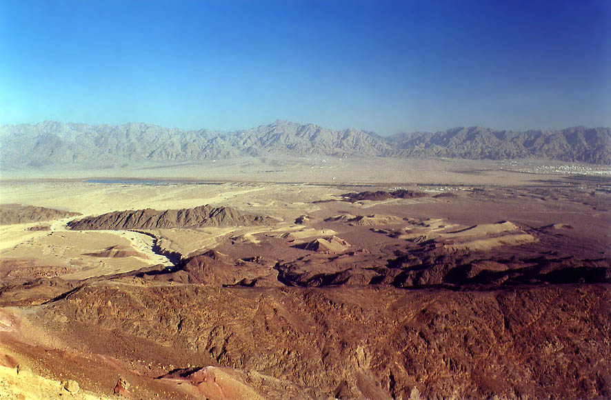 View of Arava Valley and Edom Mountains from...north from Eilat. The Middle East