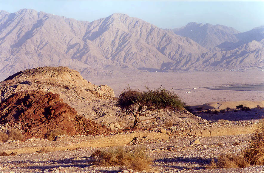 Arava Valley from a foot of Shahmon Mountains near Eilat at evening. The Middle East