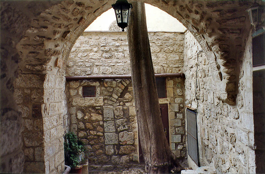 A private yard in Old City of Jerusalem, somewhere in Christian Quarter. The Middle East