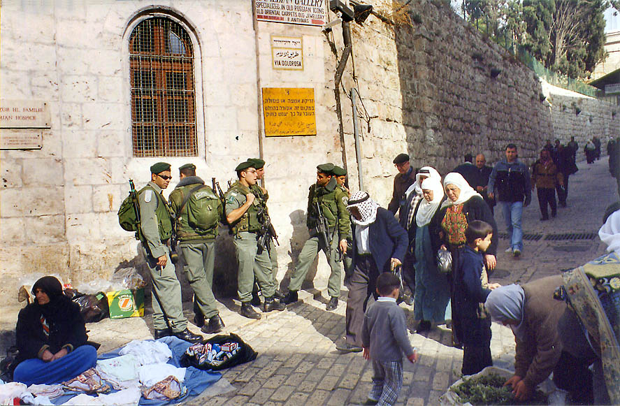 Soldiers on the corner Via Dolorosa and El Wad...a Friday worship. The Middle East
