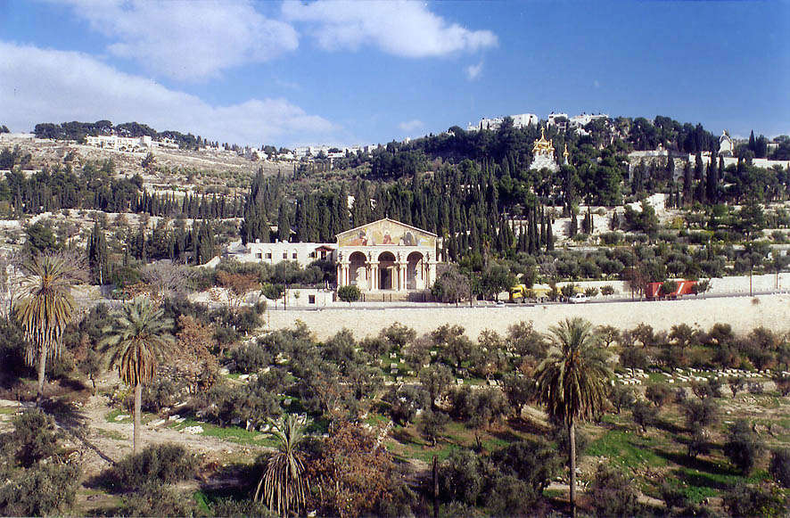 Mount of Olives from Derekh Ha'Ofel road. Jerusalem, the Middle East