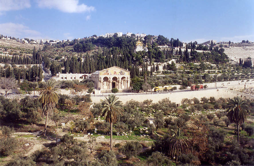 Kidron creek and Mount of Olives from Derekh Ha'Ofel road. Jerusalem, the Middle East