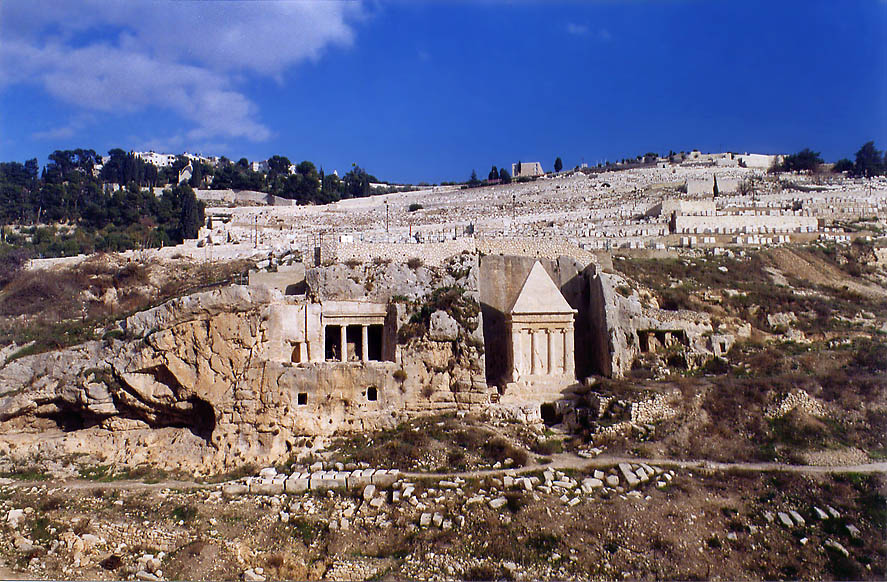 Ancient Jewish tombs in Kidron Valley and...Ofel road. Jerusalem, the Middle East