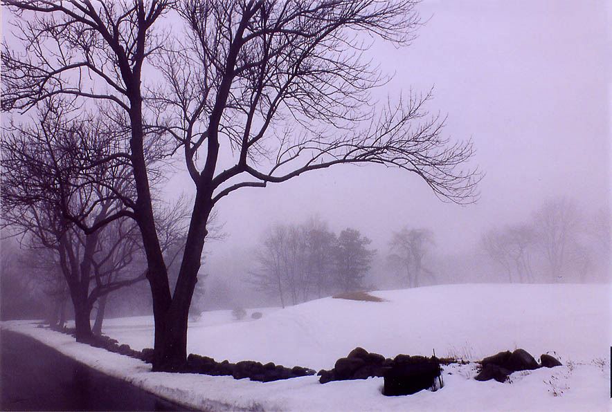 Country Club golf course in northern Fall River at foggy and rainy day. Massachusetts