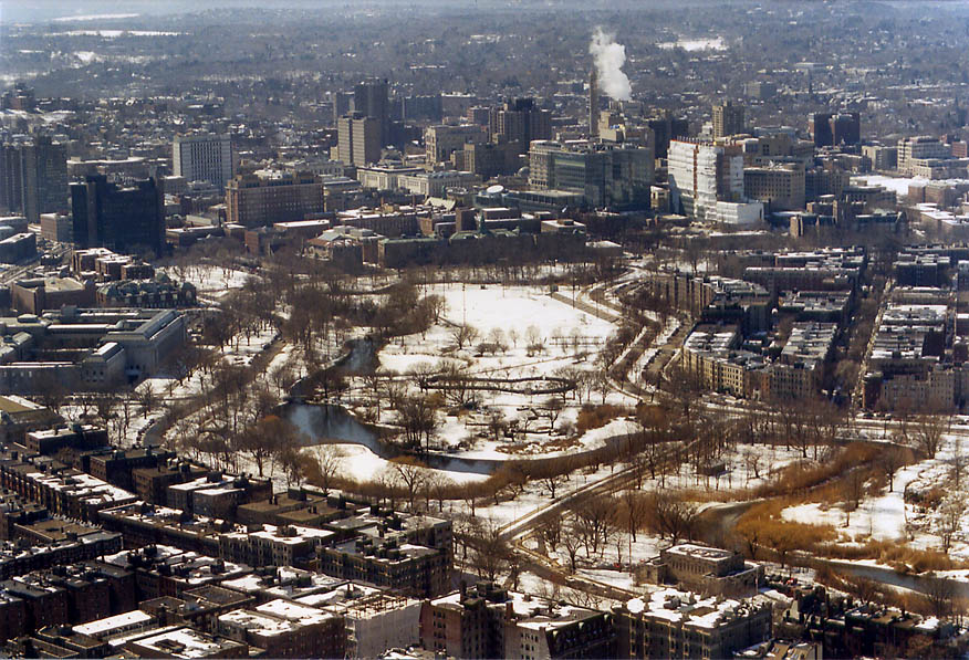 Muddy River and Back Bay Fens in Boston from Skywalk of Prudential Tower. Massachusetts
