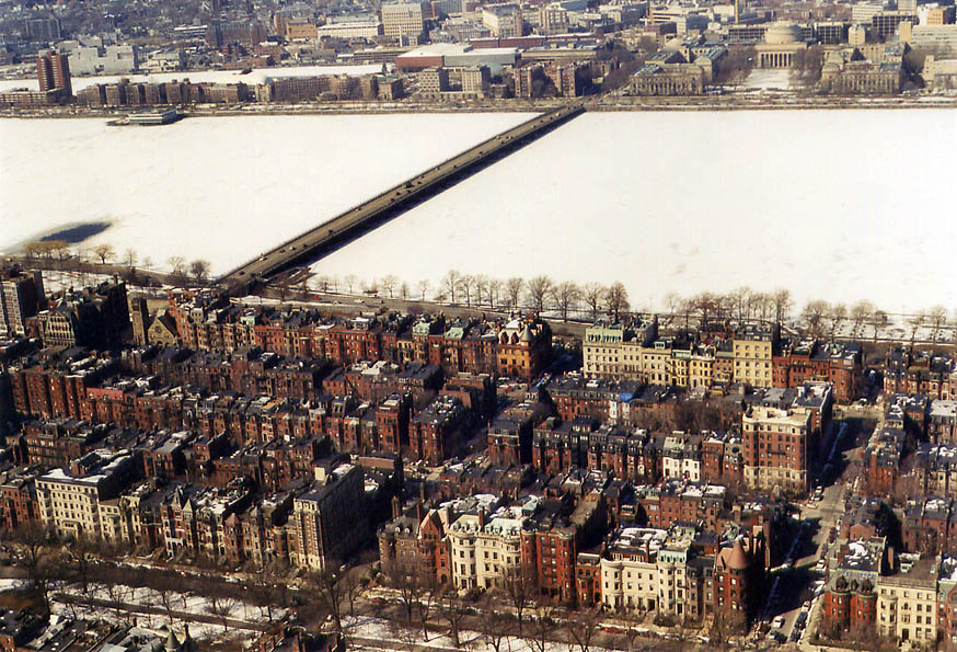 Back Bay, Charles River and Harvard Bridge in...of Prudential Tower. Massachusetts