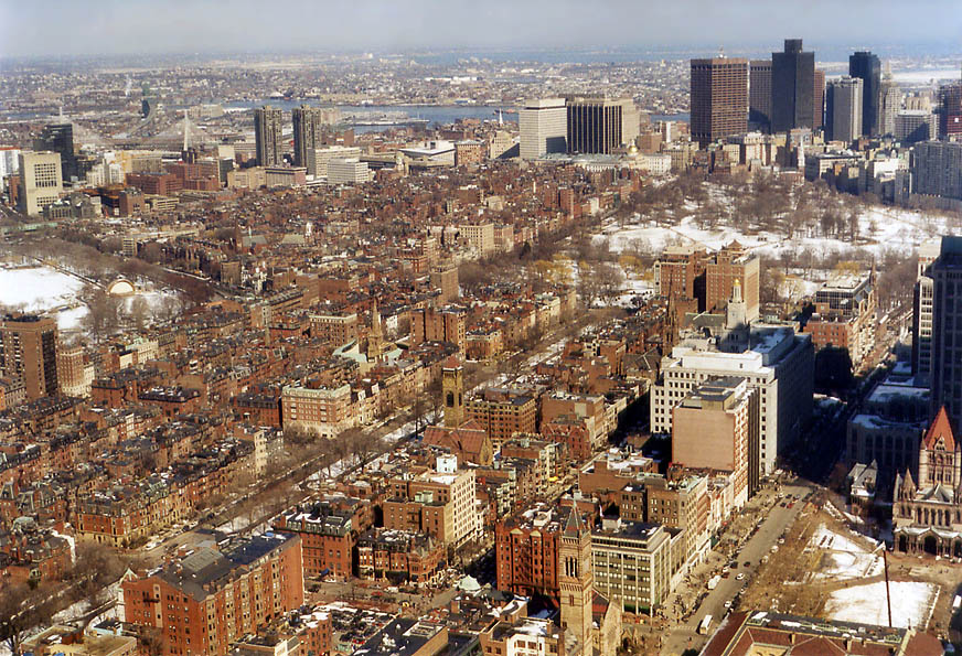 Area west from Financial District in Boston from...of Prudential Tower. Massachusetts