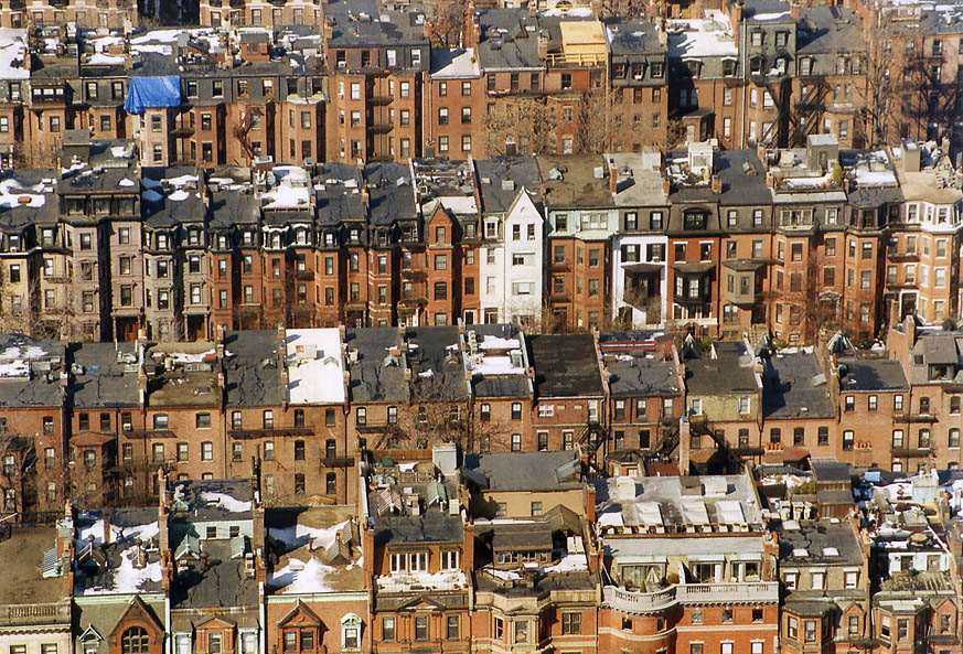 Houses between Commonwealth Ave. and Beacon St...of Prudential Tower. Massachusetts