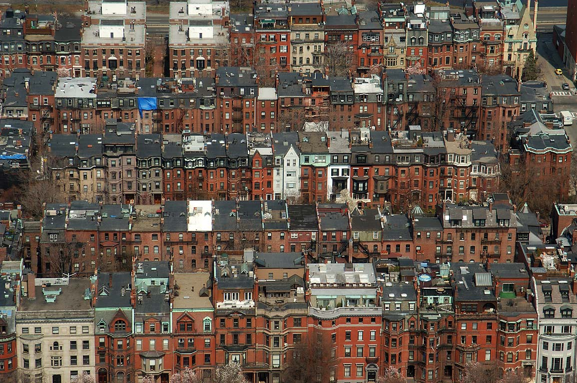 Back Bay from observatory of Prudential Tower. Boston, Massachusetts