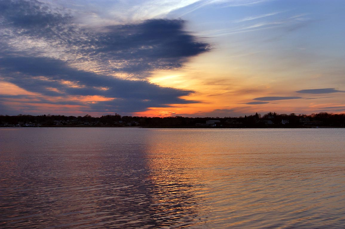 Sunset over Taunton River (at 7:33 p.m.) in northern Fall River. Massachusetts