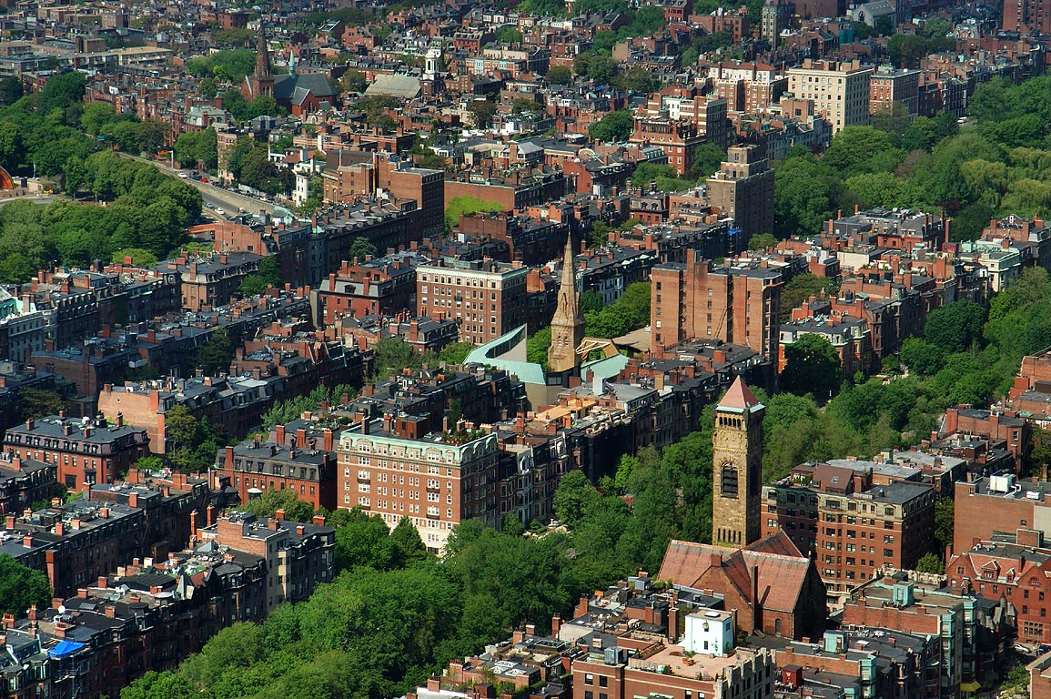 Commonwealth Ave. and a corner of Boston Common from Prudential Tower. Massachusetts
