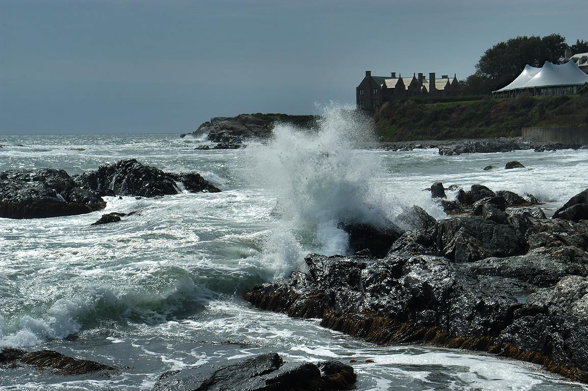 Rough waters of Atlantic Ocean (because of a...Walk trail in Newport. Rhode Island