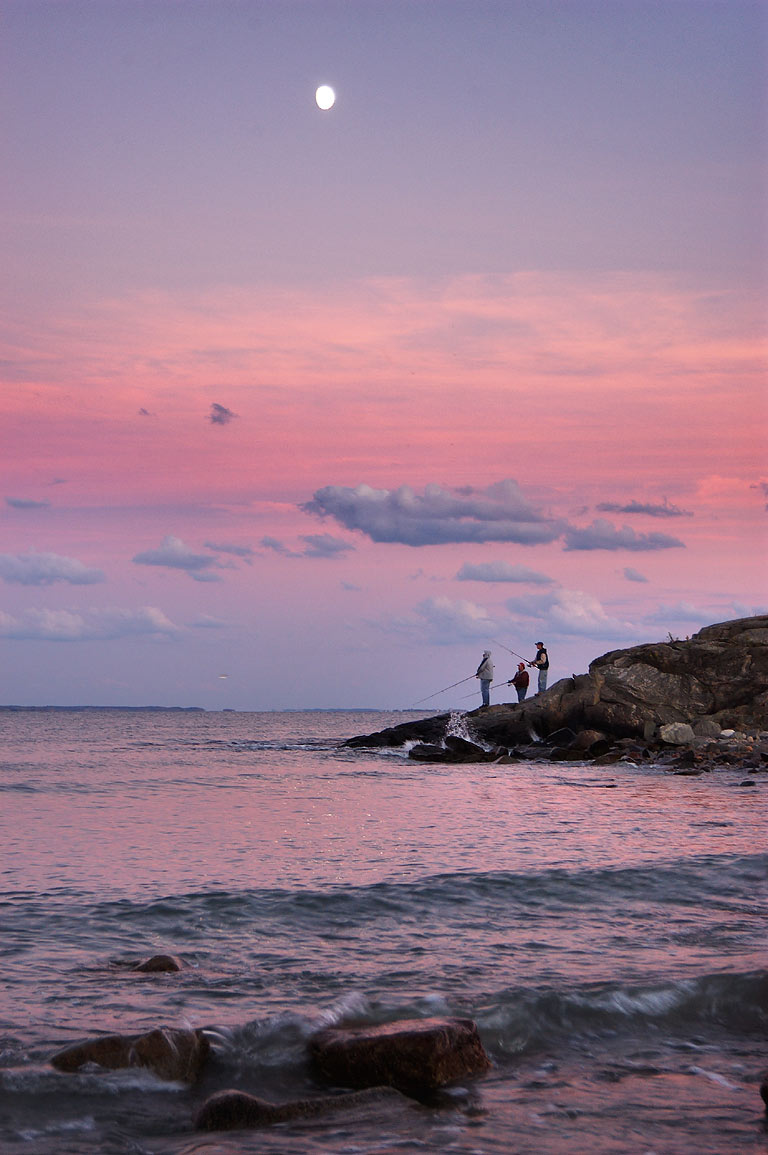 Fishing after sunset, near Allen's Pond, view from Little Beach. Dartmouth, Massachusetts