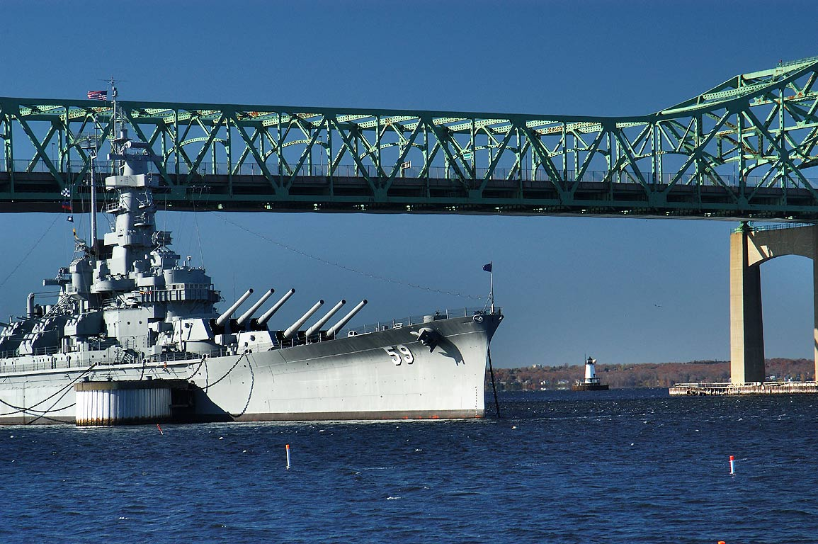Battleship BB-59 USS Massachusetts and Braga...at morning. Fall River, Massachusetts