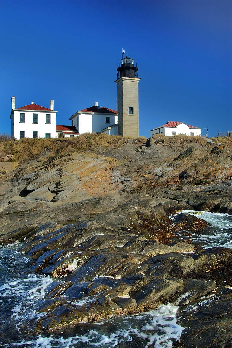 A lighthouse at Beavertail Point in Conanicut Island. Jamestown, Rhode Island