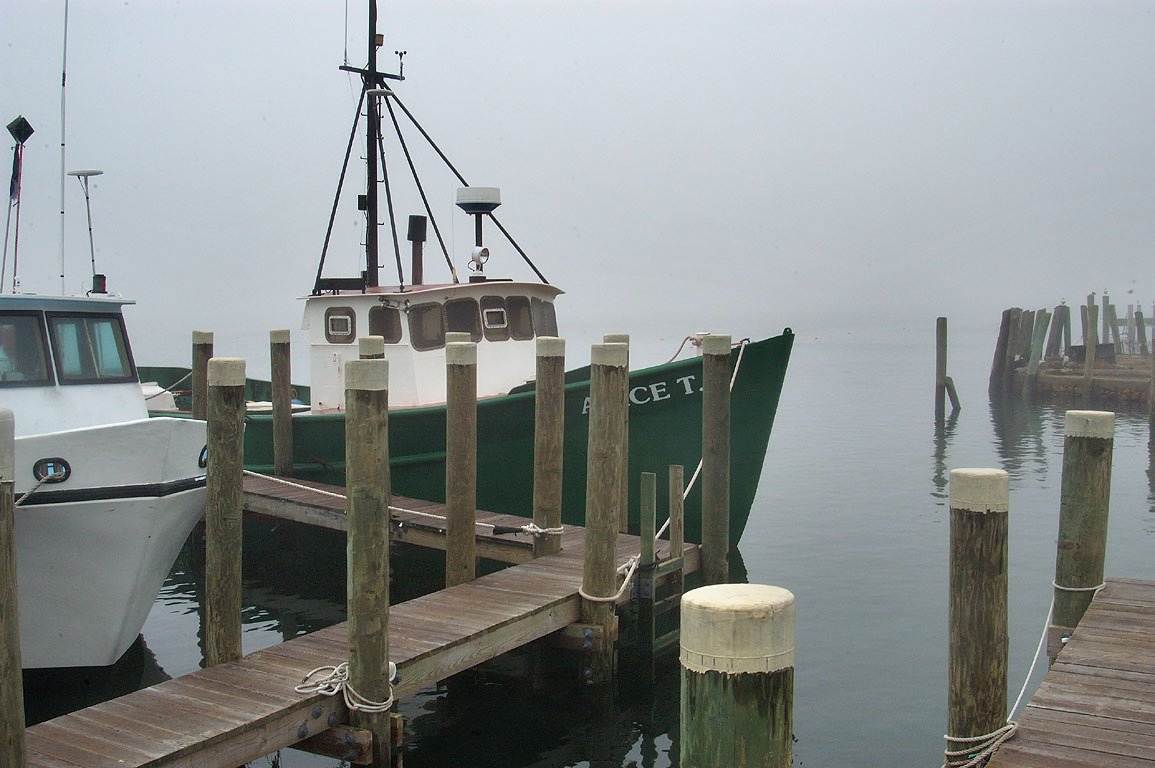 Lees Wharf in Westport Point in fog. Massachusetts