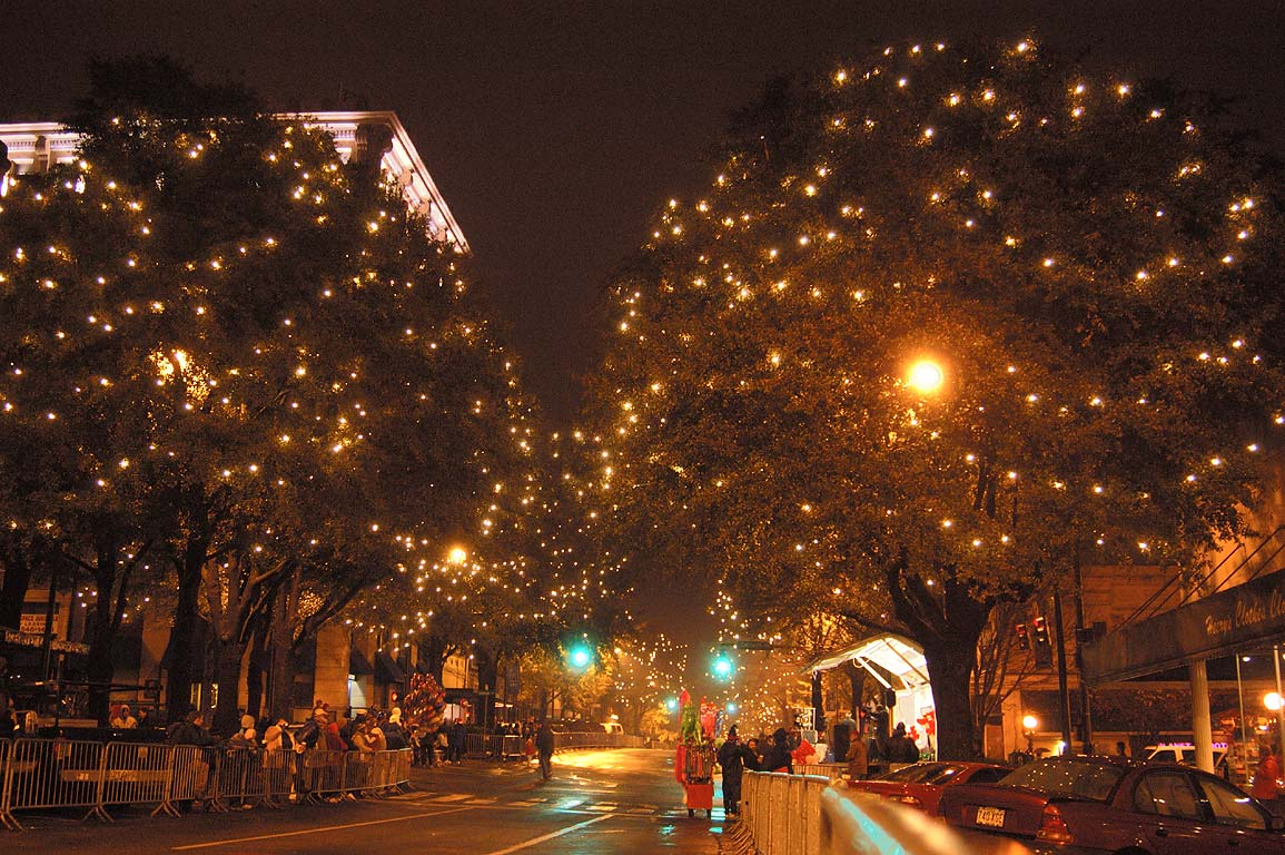 Christmas lights parade in Athens, Georgia