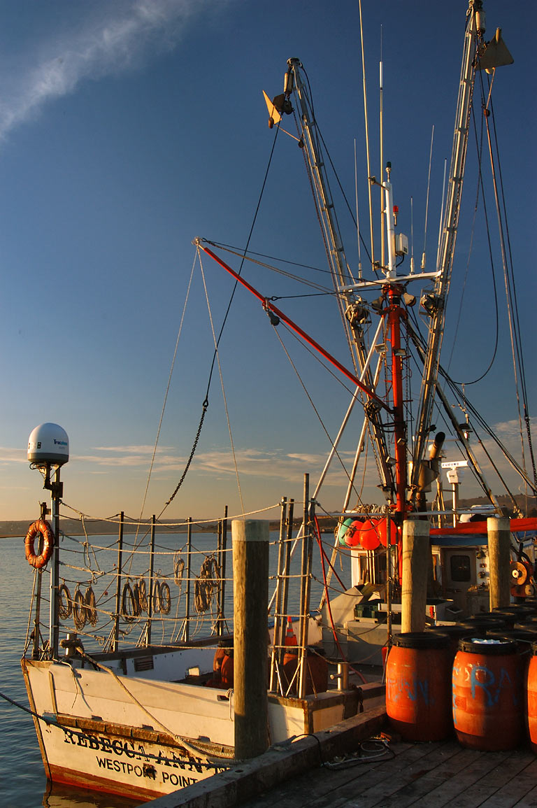 A fishing boat in Lees Wharf at Westport Point. Massachusetts