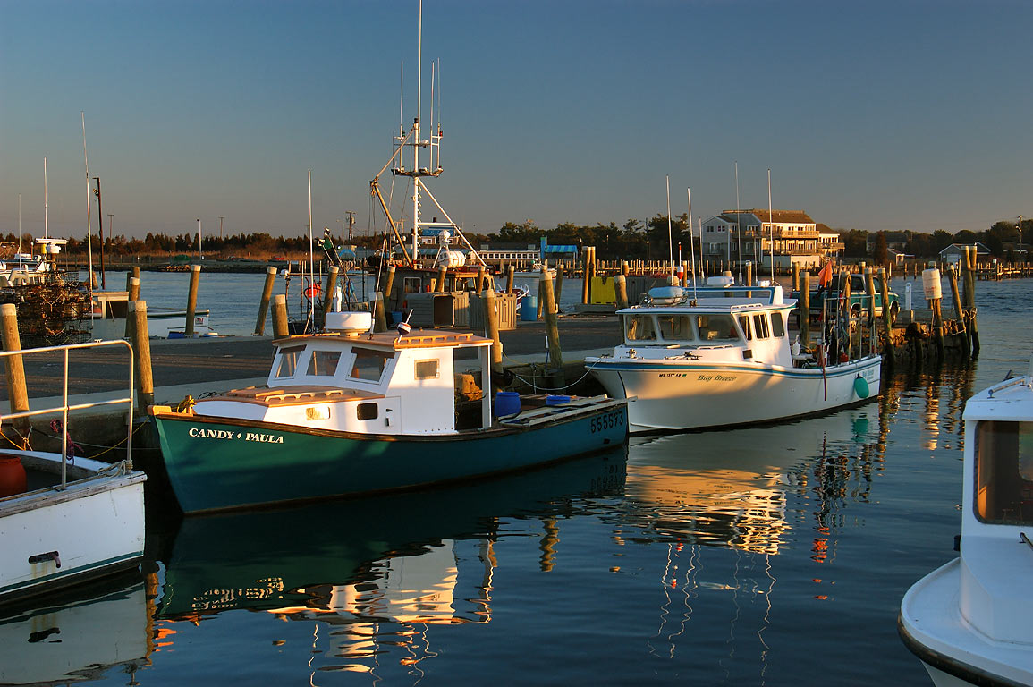 Fishing vessels at the docks of Lees Wharf in Westport Point. Massachusetts