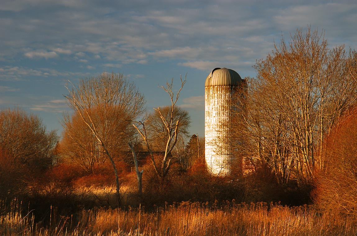 A silo at crossing of Snell and East Main roads...Brook. Little Compton, Rhode Island