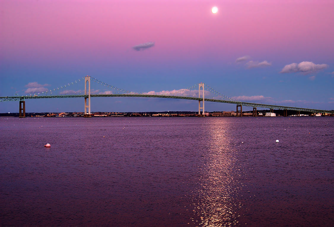 Newport Bridge and East passage of Narragansett...in Jamestown at 4:44 p.m. Rhode Island