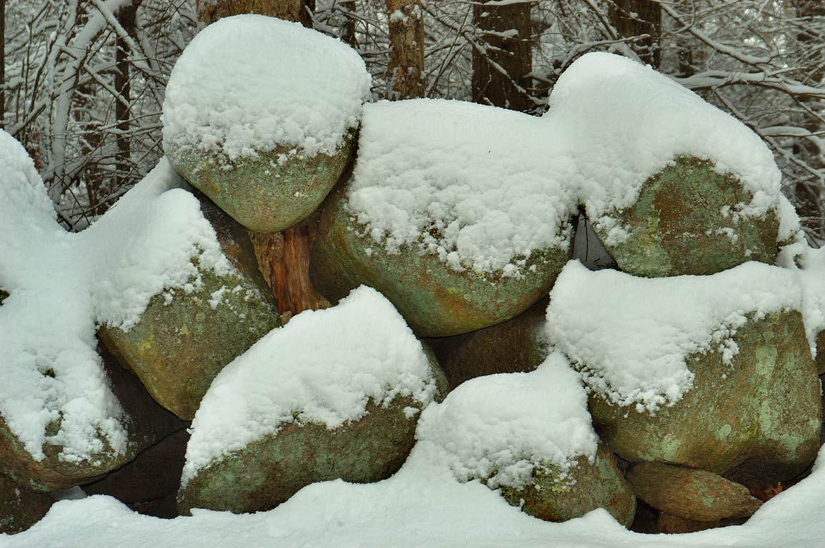 Abandoned stone wall in a forest near Lucy Little...snowfall. Dartmouth, Massachusetts