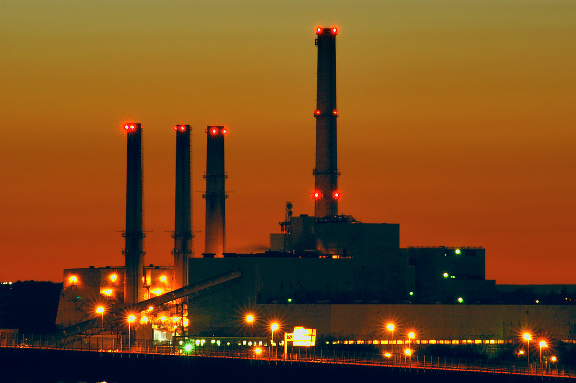 Brayton Point Power Plant (zoomed) from an...sunset. Fall River, Massachusetts