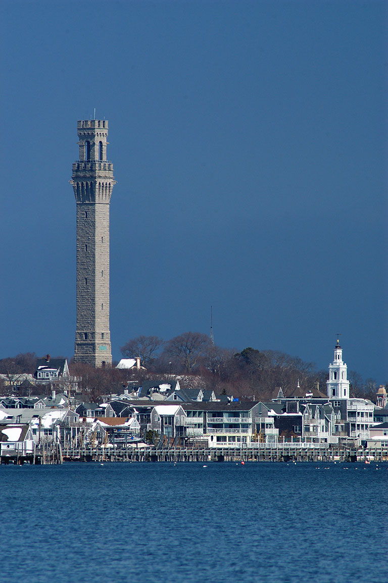 Pilgrim Monument and Provincetown (zoomed), view...of the Harbor. Cape Cod, Massachusetts