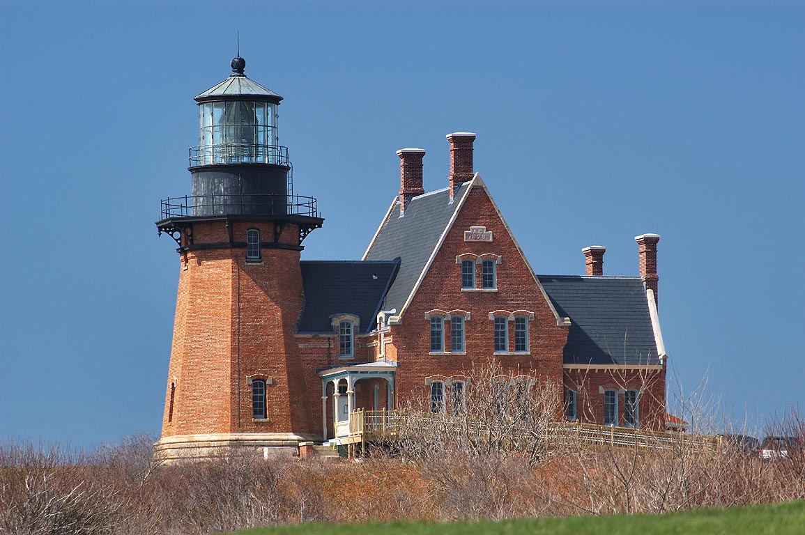 Southeast Lighthouse in Block Island, view from a...cottage. New Shoreham, Rhode Island