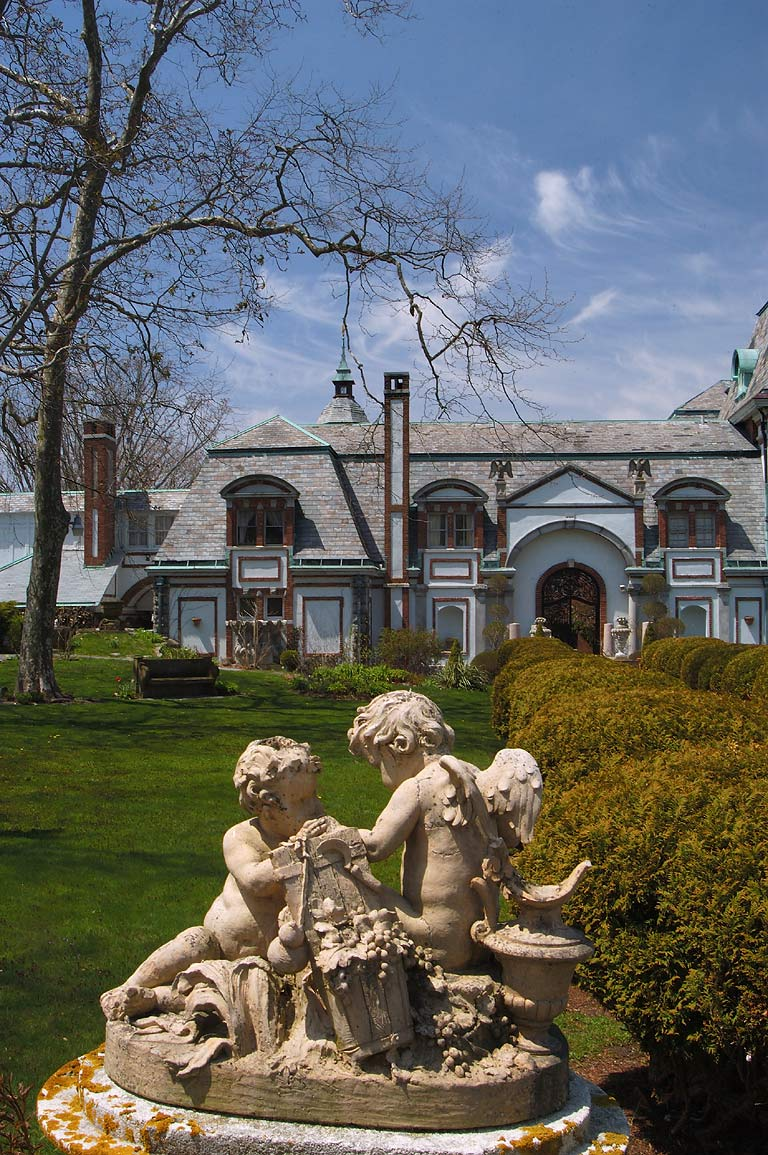 A sculpture in front of Belcourt Castle Mansion on Bellevue Ave.. Newport, Rhode Island