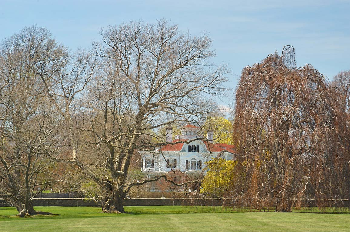 A mansion on Bellevue Ave., view from a garden of Chateau Sur Mer. Newport, Rhode Island